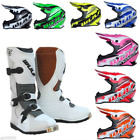 New Kids Wulfsport Motocross White Boot & Helmet Bundle (All Sizes) Youth Mx