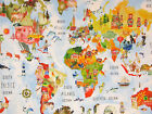 ADVENTURE RAINBOW PVC WIPE CLEAN OILCLOTH ATLAS MAP TABLECLOTH  click for sizes