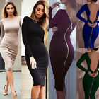 Women Bandage Bodycon Dress Evening Cocktail Party Short Midi Dress Zipper Sexy