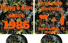 camo 30th Birthday koozies no minimum happy & alive can coolers quick shipping