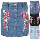 Womens Ladies Button Down Floral Rose Embroidered A-line Denim Jeans Mini Skirt