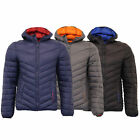 Mens Jacket Crosshatch Coat Padded Quilted Wadded Bubble Hoodie Lined Winter New
