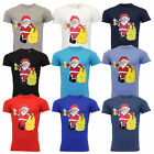 Mens Christmas T Shirt Xmas Santa Claus Novelty Cotton Fashion Festive Top New