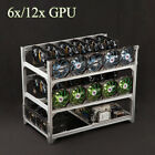 6/8/12xGPU Crypto Coin Aluminum Open Air Frame Mining Miner Rig Case Stackable