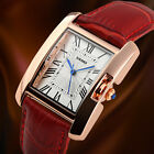 Women Ladies Luxury Analog Square Waterproof Roman Quartz Leather Wrist Watch