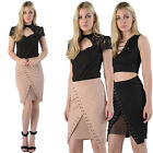 Womens Ladies Mini Skirt Wrap Over Studded Midi Fabric Pencil Bodycon Fit Office
