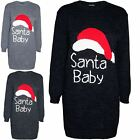 Womens Ladies Knitted Christmas Xmas Round Neck Santa Baby Baggy Jumper Dress