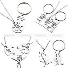 Fashion Family Frienship Love Alloy Metal Silver Pendant Necklace Keychain Gift