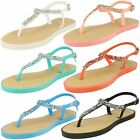 Ladies Savannah Toe Post Diamante T-Bar Buckle Ankle Strap Sandals - F0821