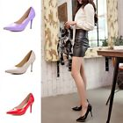 New Womens Sexy High Heels Pointed Toe Patent Leather Slim Stilettos Party Shoes