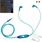 LED Dynamic Light Up Earphones Stereo Headphones Earbuds with Mic + USB Cable US