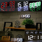 Modern Design Digital LED 3D 24/12 Time Display Night Wall Clock Alarm Snooze