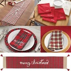 MUD PIE RED WHITE TARTAN PLAID CHRISTMAS TABLE RUNNER and/or MATCHING NAPKIN SET