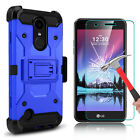 For LG K20 V/K20 Plus Armor Case With Kickstand+Tempered Glass Screen Protector