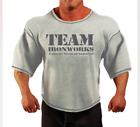 GREY VINTAGE TEAM IRONWORKS BODYBUILDING FITNESS GYM CLOTHING WORKOUT TOP