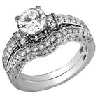 Real Sterling Silver Round cut Diamond Engagement Ring Wedding Set White Gold