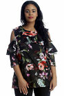New Ladies Top Plus Size Womens Bold Floral Print Winter Frill Cold Shoulder