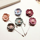 1 Pc Men's Lapel Flower Handmade Boutonniere Stick Brooch Pin Badge 6 Colors