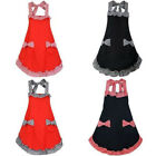 apron design pattern - Flounce and Bow-knot Design Check Pattern Apron with Pockets For Women Girls
