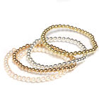 Beaded Stretch Bracelet Gold Filled Yellow, Rose, White and Pearl