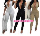 New Women Elegant Deep V Neck Diamonds Sequin Bodysuit Party Skinny Jumpsuit