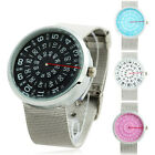 Unisex Rotate Indicator Design Dial Stainless Steel Mesh Band Quartz Wrist Watch
