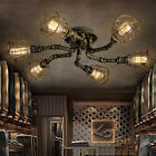 Industrial Retro Pipe Chandelier Lighting Fixture Semi Flush Ceiling Lamp
