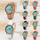 Rotating Airplane World Map Watch Unisex Retro Bronze PU Leather Strap Watches