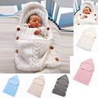 Cute Swaddle Wrap Baby Blanket Newborn Infant Knit Crochet Cotton Sleeping Bag