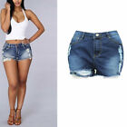 Fashion Ripped Dark Blue Summer Denim Shorts Women Casual Modern Sexy Elegant