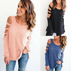 Womens Cold Shoulder Hollow Out Sleeve Shirt Blouse Top Casual T-Shirts Pullover