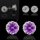 Women Fashion Chic Silver Brilliant Cut Clear Crystal Stud Crown Earrings EA