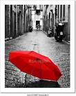 Red Umbrella On Cobblestone Street In Art Print Home Decor Wall Art Poster - C