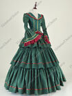 Victorian Civil War Brocade Masquerade Dress Gown Reenactment Clothing N 188