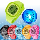 Student Child Boys Girl Kids Square Date LED Silicone Digital Strap Sports Watch