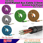 AUX AUXILIARY NYLON CABLE 3.5mm JACK BRAIDED GOLD PLATED MALE TO MALE CAR CORD