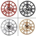LARGE TRADITIONAL VINTAGE STYLE IRON WALL CLOCK ROMAN NUMERALS HOME DECOR