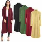 Ladies Waterfall Crepe Long Sleeve Open Front Maxi Jacket Coat Cardigan