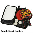 2 PCS Professional Table Tennis Ping Pong Racket Paddle Bat set + 3 Balls