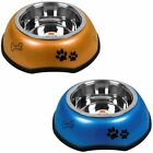Large Rubber and Metal Dog Puppy Cat Pet Animal Food Water Bowl