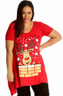 New Womens Top Plus Size Ladies Rudolph Reindeer Christmas Print T-Shirt Sale