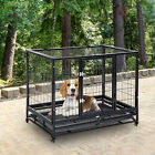 Dog Cage Pet Metal Heavy Duty with Wheels and Crate Tray for Kennel