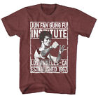 Bruce Lee Mens New T-Shirt Sizes SM - 2XL1967 INSTITUTE Vintage Maroon Heather image