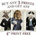 ANIMAL PRINT VINTAGE DICTIONARY PAGE STYLE LION STAG DUCK STEAMPUNK WALL ART OLD