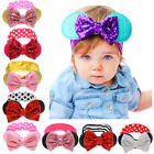 Minnie Mouse Ear Bow Sequins Headband Hair Band Baby Kid Girl Party Fancy Dress