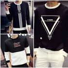 Fashion Men's Slim Fit V Neck Long Sleeve Muscle Tee T-shirt Casual Top Blouse r
