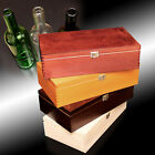 Wooden Wine Box Bottle - Gift Decoupage Craft Chest - 2 Spaces + 2 Bottles