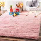 FLUFFY RUGS ANTI-SKID PINK SHAGGY AREA DINING ROOM CARPET FLOOR MAT 5cm THICK