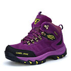 Winter Womens Real Wool Lined Snow Hiking Boots High Top Non Slip Outdoor Shoes