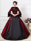 Vintage Gothic Dark Red Victorian Royal Court Ball Gown maxi prom party Dresses